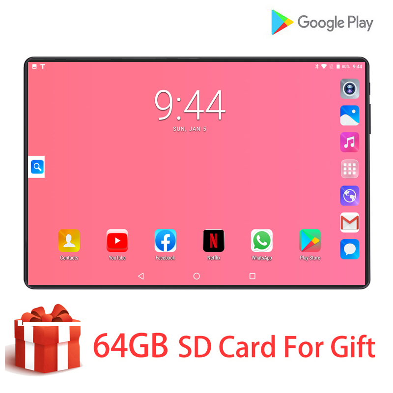 10.1 Inch PC Tablet Android 9.0 3G/4G Phone Call Cota Core 128GB Dual SIM Cards Gps WiFi IPS Tablet PC+Keyboard Case