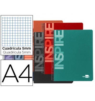 SPIRAL NOTEBOOK LEADERPAPER A4 MICRO INSPIRE HARDCOVER 160H 60 GR TABLE 5MM 5 BANDS 4 DRILLS COLORS ASSORTED
