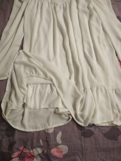 Hot 2019 autumn new fashion women's temperament commuter puff sleeve small high collar natural A word knee Chiffon dress reviews №4 199