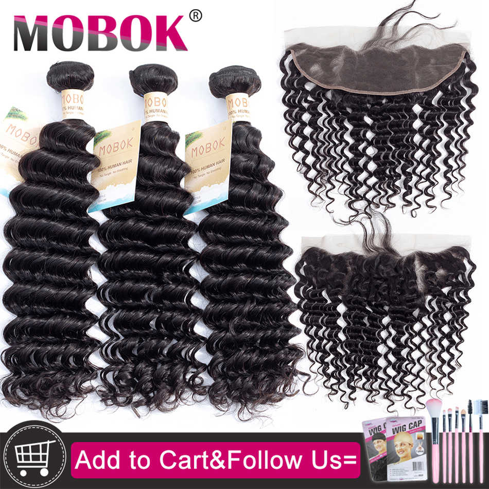 MOBOK Deep Wave Bundles With Frontal Remy Human Hair Bundles With Closure Malaysian Hair Weave 3 Bundles With 13x4 Closure