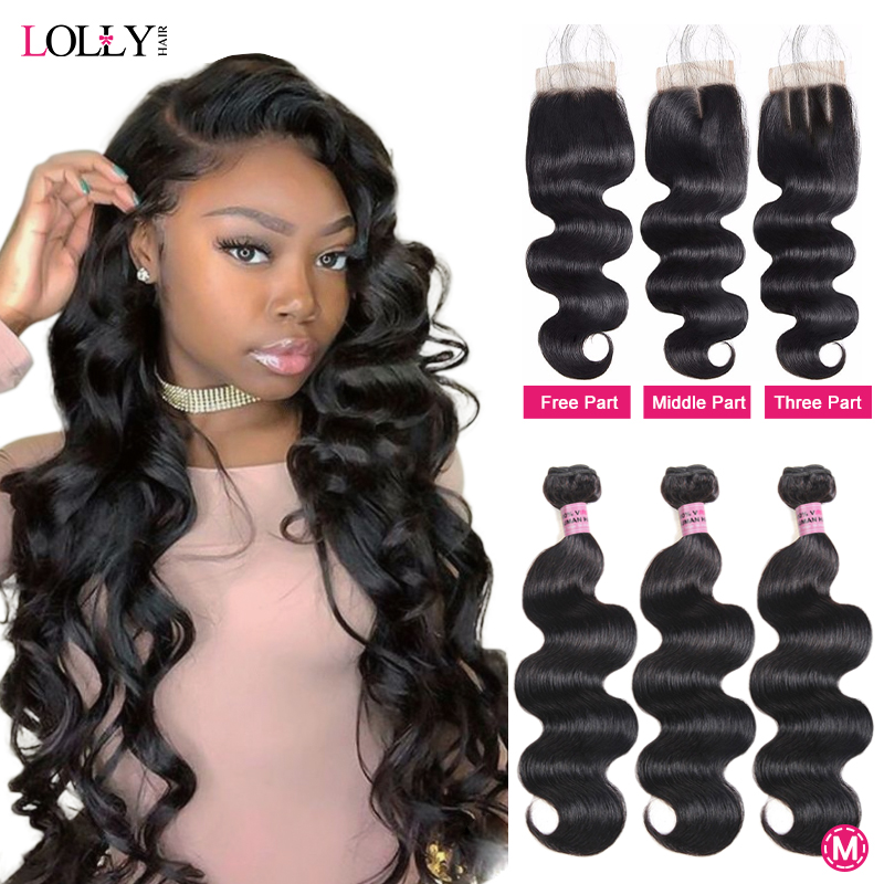 Lolly Body Wave Bundles With Closure Human Hair Bundles With Closure Brazlian Hair Weave Bundles With Closure Non-Remy