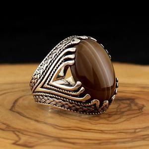 Кольцо из стерлингового серебра 925 пробы для мужчин Solimani Aqeq натуральный камень оникс Циркон ювелирные изделия модный винтажный подарок для ...