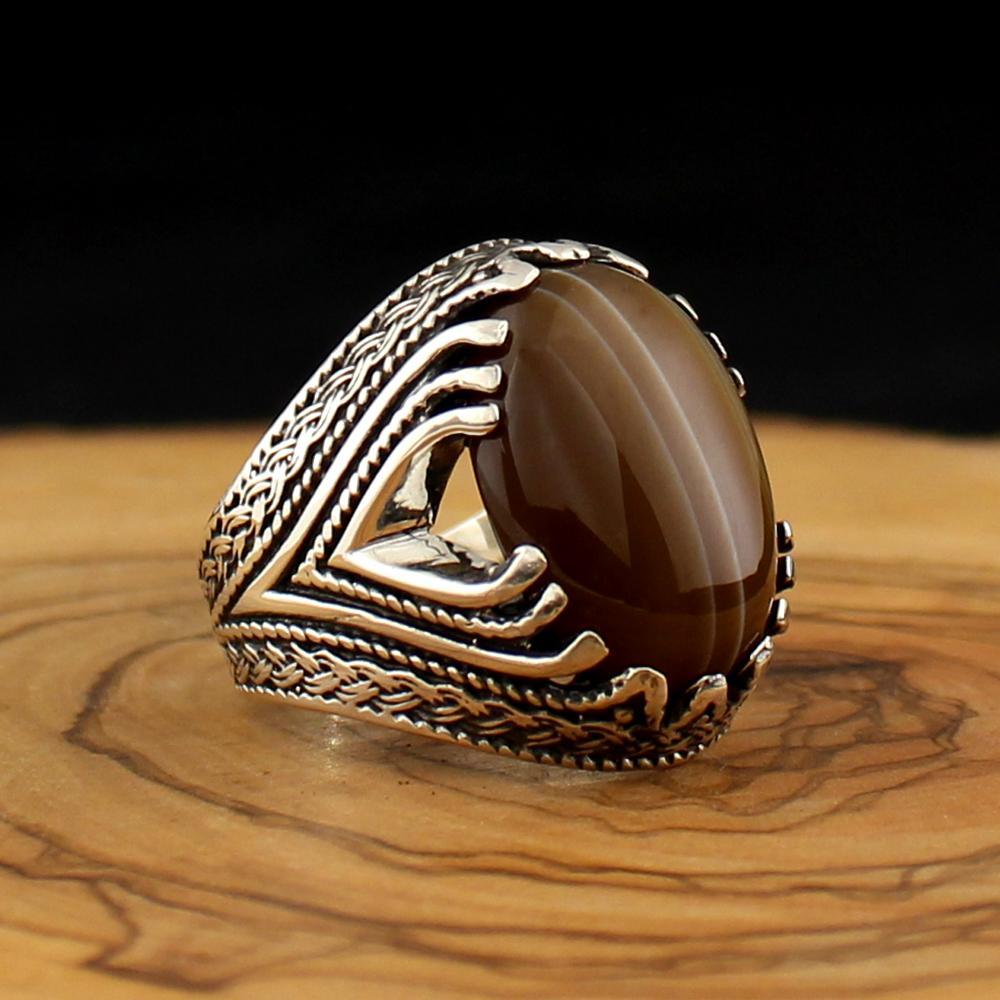 925 bague en argent Sterling pour hommes Solimani Aqeq pierre naturelle Onyx Zircon bijoux mode vintage cadeau femmes fabriqué en turquie
