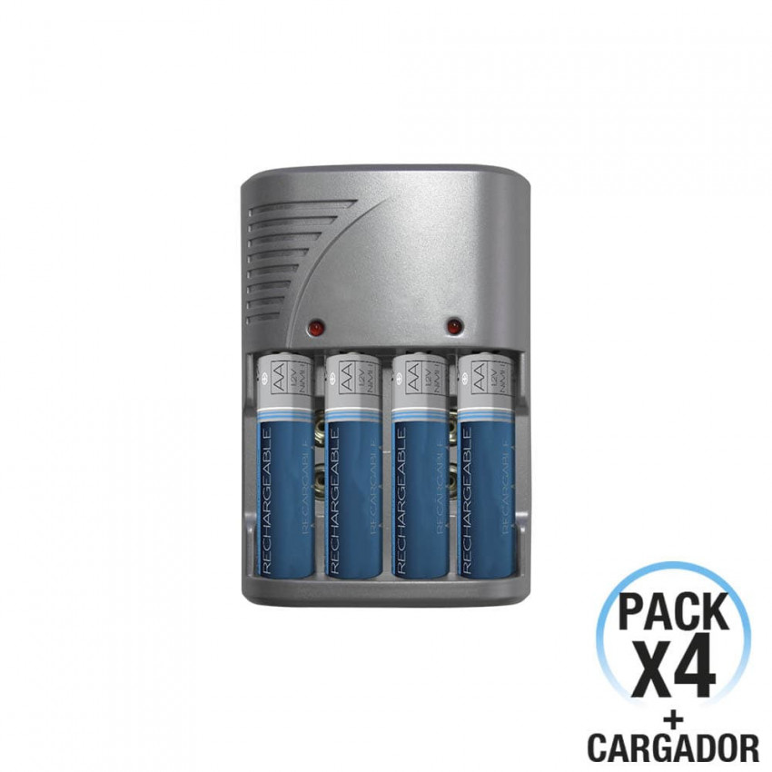 Kit Charger And 4 Rechargeable Batteries 7hDayron