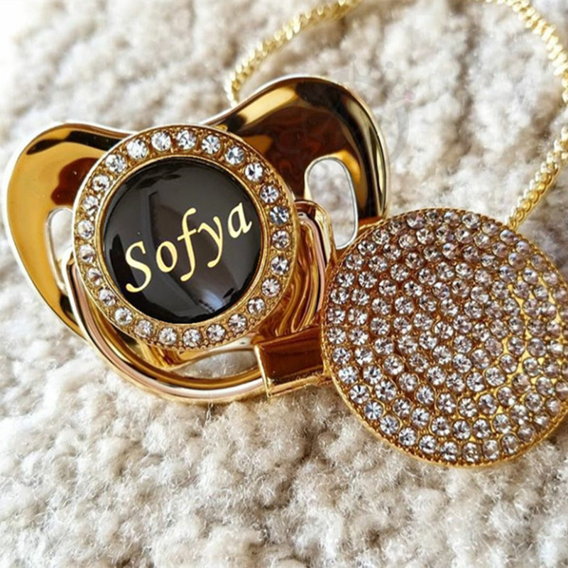MIYOCAR Personalized Any Name Can Make Gold Bling Pacifier Black And Bling Pacifier Clip BPA Free Dummy Bling Unique PPC-B