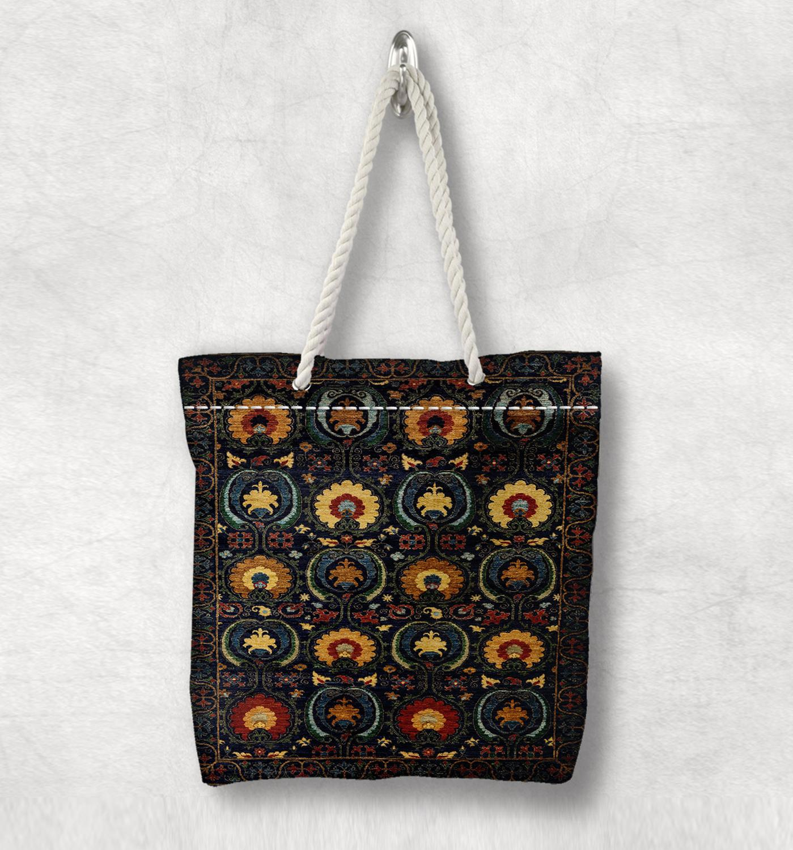 Else Black Yellow Floral Anatolia Antique Kilim Design White Rope Handle Canvas Bag Cotton Canvas Zippered Tote Bag Shoulder Bag