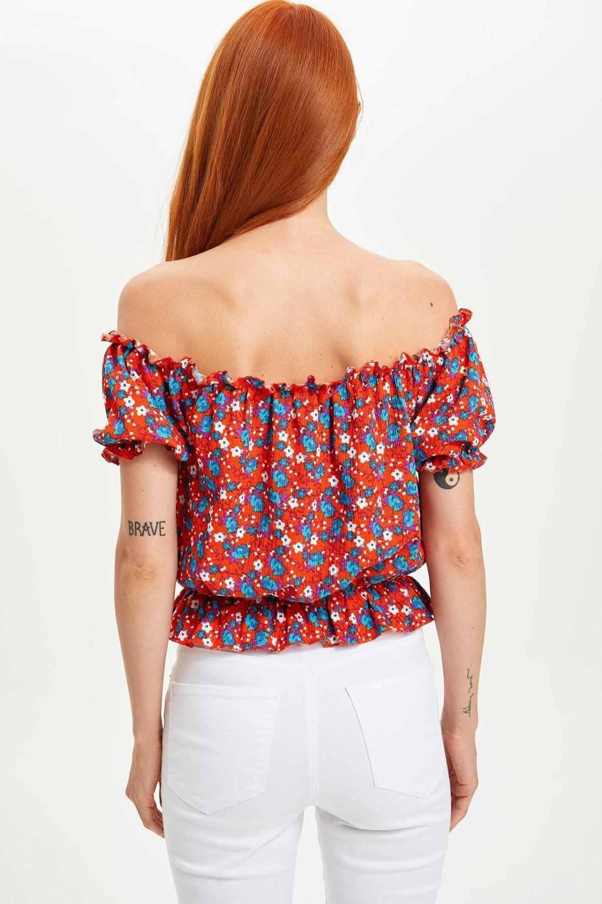 Defacto Fashion Wanita Atasan Wanita Kasual Longgar Bahu Lengan Pendek Wanita Cetak T-shirt Musim Panas Baru-M3329AZ19AU