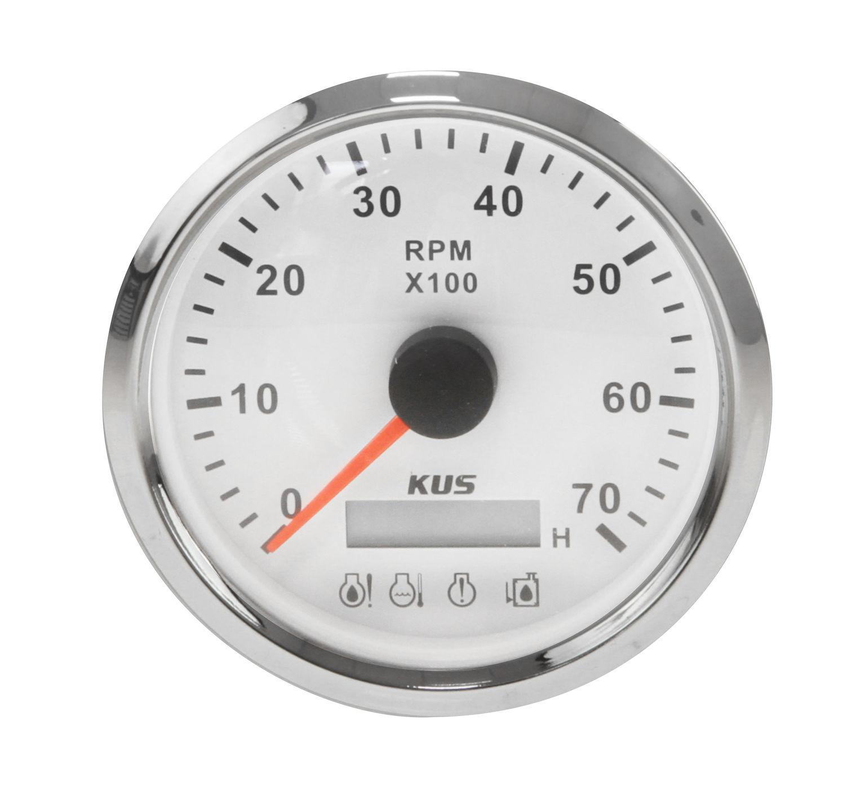 Tachometer 0-7000 Rev/min Alarm Divider 1-10, White Dial, Stainless Steel Bezel. 85mm KY07123