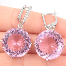 38x20mm Beautiful Big Round Gemstone Created Pink Kunzite CZ Gift For Sister Silver Earrings