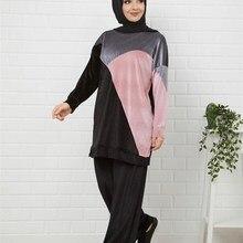 Butik Melike damski aksamitny garnitur nowy nabytek ubranie sportowe hidżab abaya moda muzułmańska zestaw islamska odzież modlitewna odzież turcja