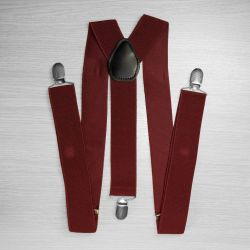 Suspenders for trousers wide (3.5 cm, 3 clips, Burgundy) 52868