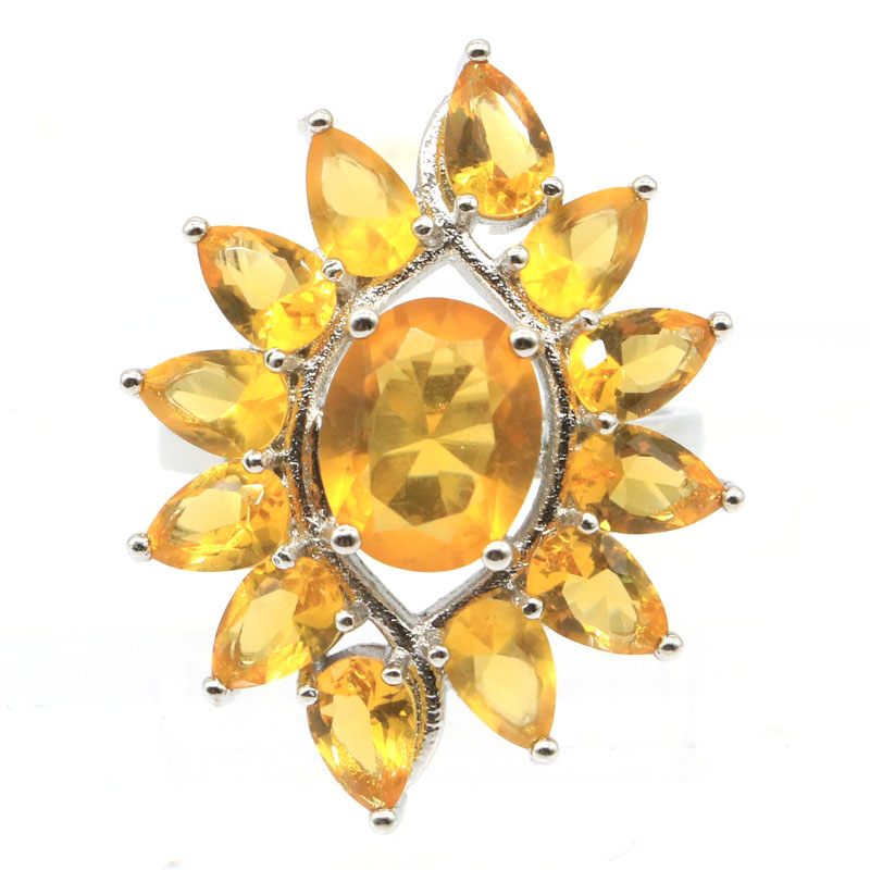 30x20mm SheCrown Pretty Created Golden Citrine Tanzanite White CZ Gift For Sister Silver Rings