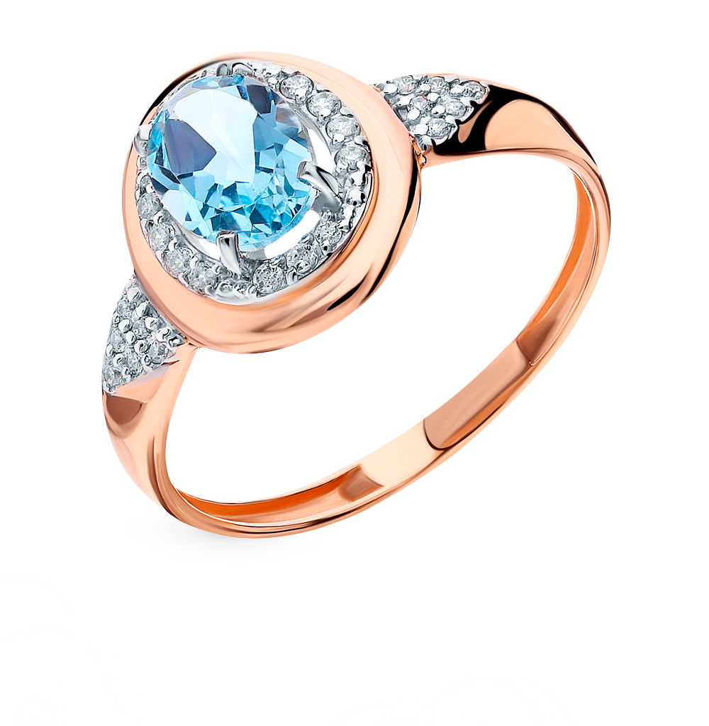 Gold Ring With Topaz And Cubic Zirconia SUNLIGHT Test 585