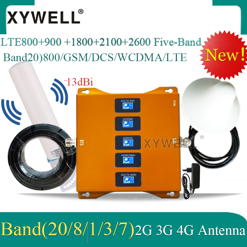 B20 800/900/1800/2100/2600mhz Five-Band Mobile Signal Booster 4G Repeater Gsm 2g 3g 4g Cellular Amplifier LTE DCS WCDMA LTE GSM