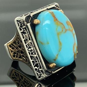 Męski pierścionek ręcznie robiony duży owalny pierścionek z turkusem pierścionek z owalnym klejnotem biżuteria osmańska pierścionek ze srebra próby 925k prezent dla niego tanie i dobre opinie Mercan Silver 37 gr 925 sterling TR (pochodzenie) Mężczyźni turquoise Drobne Brak Pierścionki Klasyczny