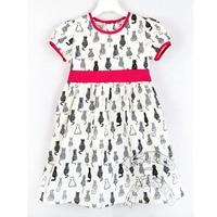 Girls dress cats, cotton dress for girls, kids clothing.