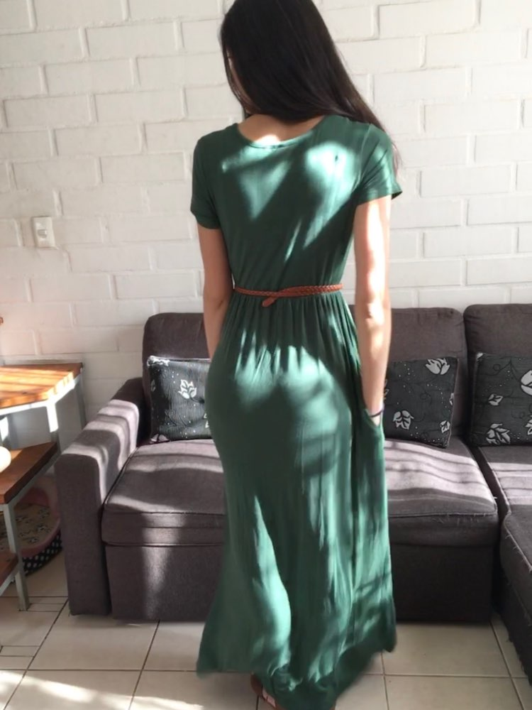 Summer Maxi Long Dress Women Clothes Fashion Short Sleeve Solid Casual Dresses Cotton Femme Pockets Robe Plus Size Xxl photo review