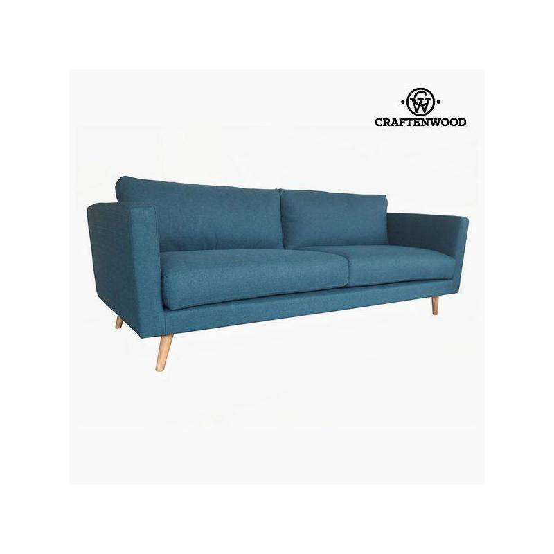 3 Seater Sofa Pine Wood Blue Polyester (211x88x83 Cm) By Craftenwood