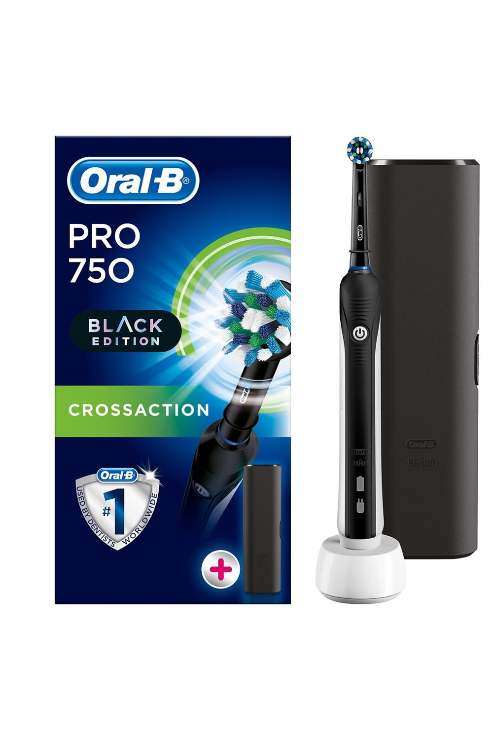 Oral B Pro 750 Black CrossAction + Travel Case, Braun Electric Tootbrush image