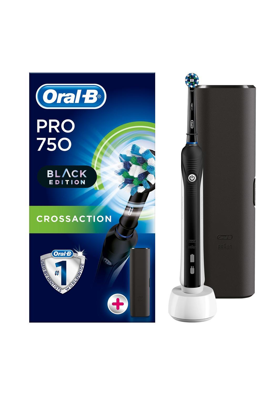Oral B Pro 750 Black CrossAction + Travel Case, Braun Electric Tootbrush