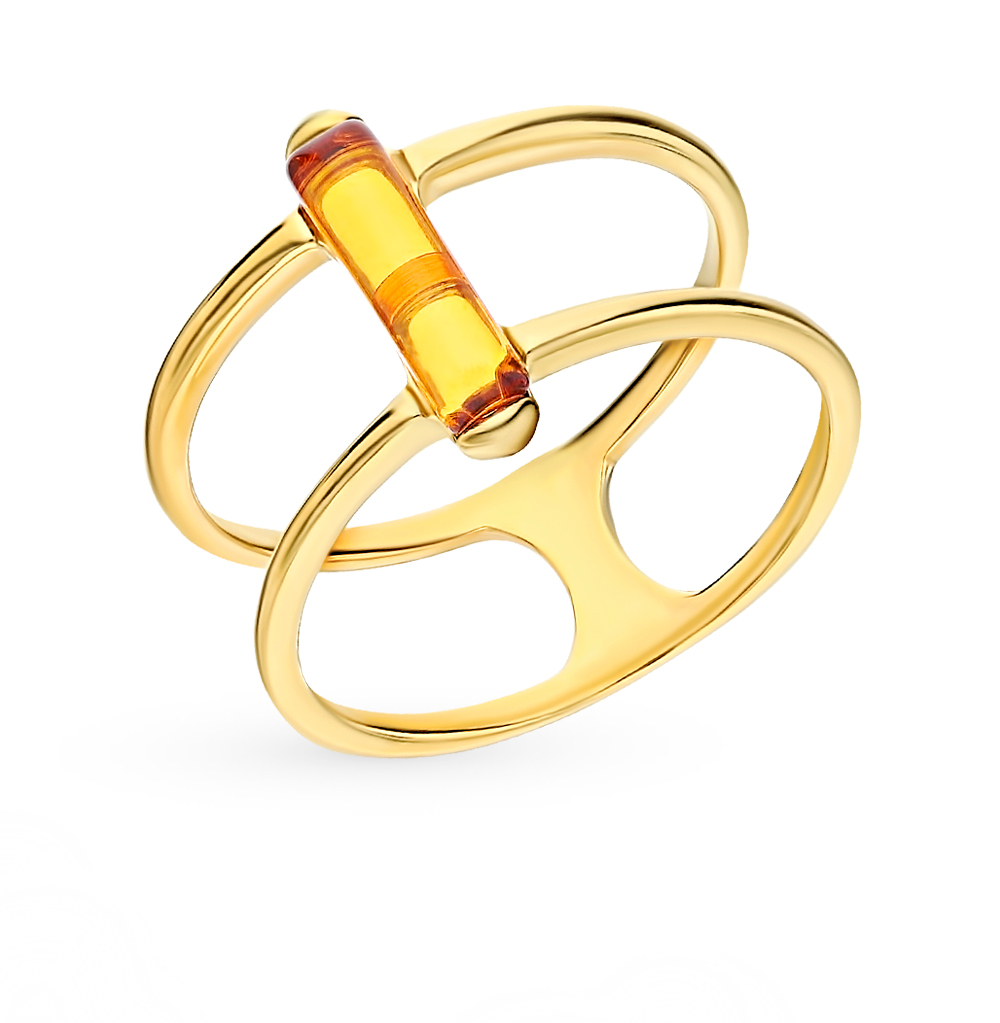 Silver Ring With Amber Sunlight Sample 925