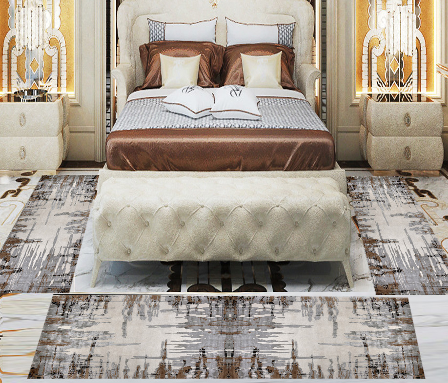 Else 3 Piece Brown Grey Vintage Lines 3d Print Non Slip Microfiber Washable Decor Bedroom Hallway Area Rug Carpet Set