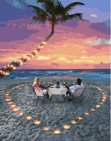Painting By Numbers PK 51028 Romantic Dinner On The Sandy Beach 40*50