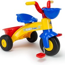 NJUSA tricycle Trico MAX yellow and blue for children 1 to 3 years old with front and rear basket, Color, 12m +