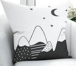 Else czarne białe góry gwiazdy skandynawskie 3D drukuj mikrofibra rzuć poszewka na poduszkę obejmuje kwadratowy ukryty zamek błyskawiczny 45x45cm w Poszewka na poduszkę od Dom i ogród na