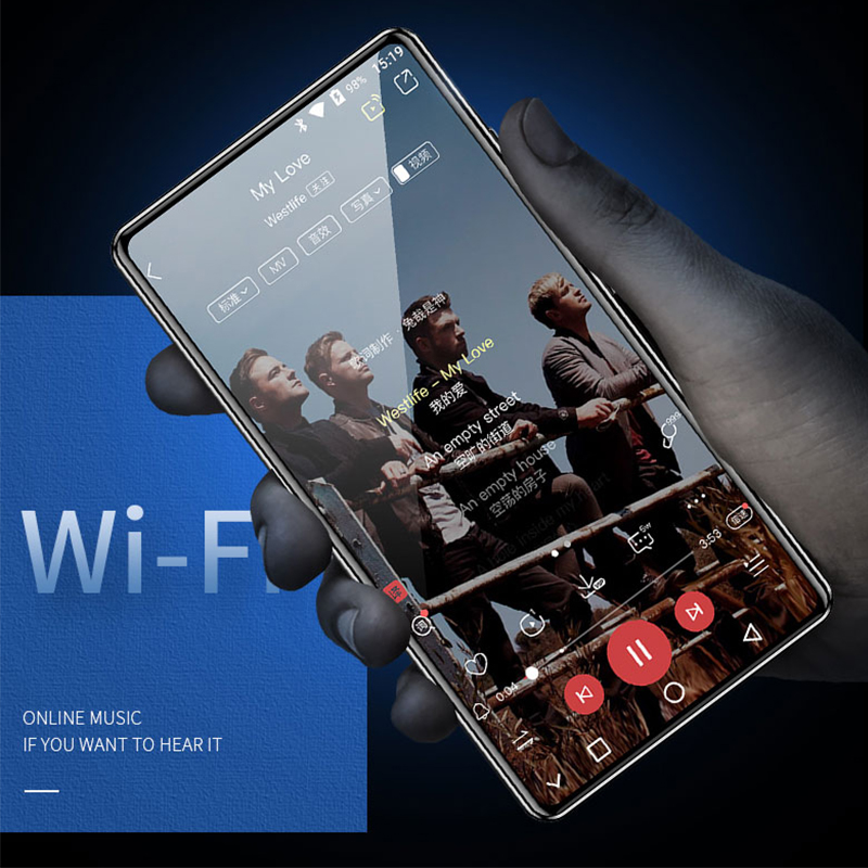 JWD Wifi BT5.0V MP4 Player MP5 1080P Video IPS With E-book Download Apps