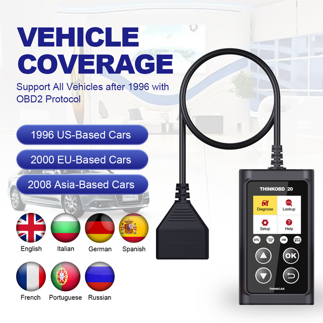 THINKCAR ThinkOBD 20 Car Diagnostic Tool OBD2 Automotive Scanner Engine Light Check DTC Lookup Obdii Code Reader PK ELM327 v1.5