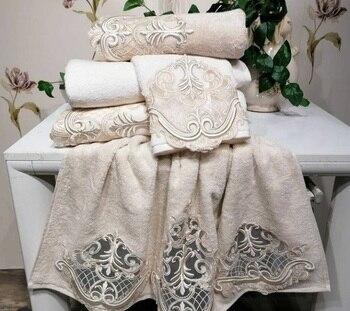 2 Piece Turkish Made Towel Soft Lace Hand Towel Bath Face Towel Set 50x90 cm Embroidered 100% Organic Cotton For home gift towel towel set 2 pieces saheser towel set 2 pieces