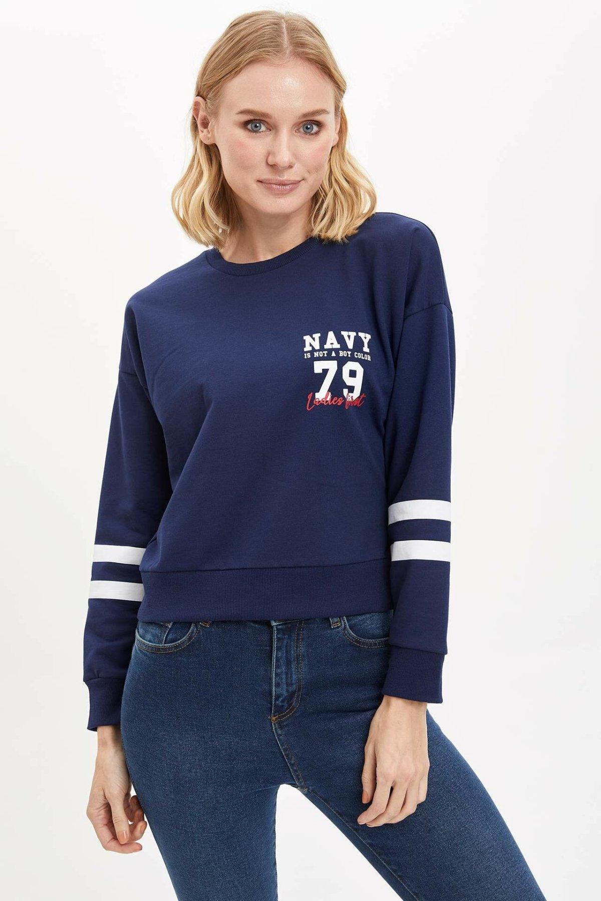 DeFacto Woman Fashion Joker Crewneck Sport Pullovers Loose Long Sleeves Casual Pullovers Women Autumn New - K6864AZ18CW