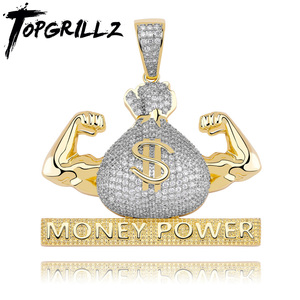 Image 1 - TOPGRILLZ Iced Out US Dollar Money Power Pendant Necklace & Pendant Free Cuban Chain Cubic Zircon Mens Hip Hop Rock  Jewelry