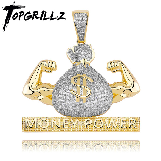 TOPGRILLZ Iced Out US Dollar Money Power Pendant Necklace & Pendant Free Cuban Chain Cubic Zircon Mens Hip Hop Rock  Jewelry