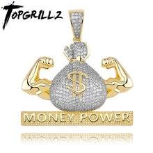 TOPGRILLZ Iced Out US Dollar Money Power Pendente Della Collana & Del Pendente di Trasporto A Catena Cubana Zircone Cubico Hip Hop degli uomini rock Gioielli