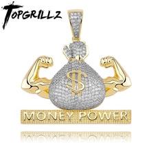 "TOPGRILLZ אייס מתוך בארה""ב דולר כסף כוח תליון שרשרת & תליון משלוח קובני שרשרת מעוקב זירקון גברים של היפ הופ רוק תכשיטים"