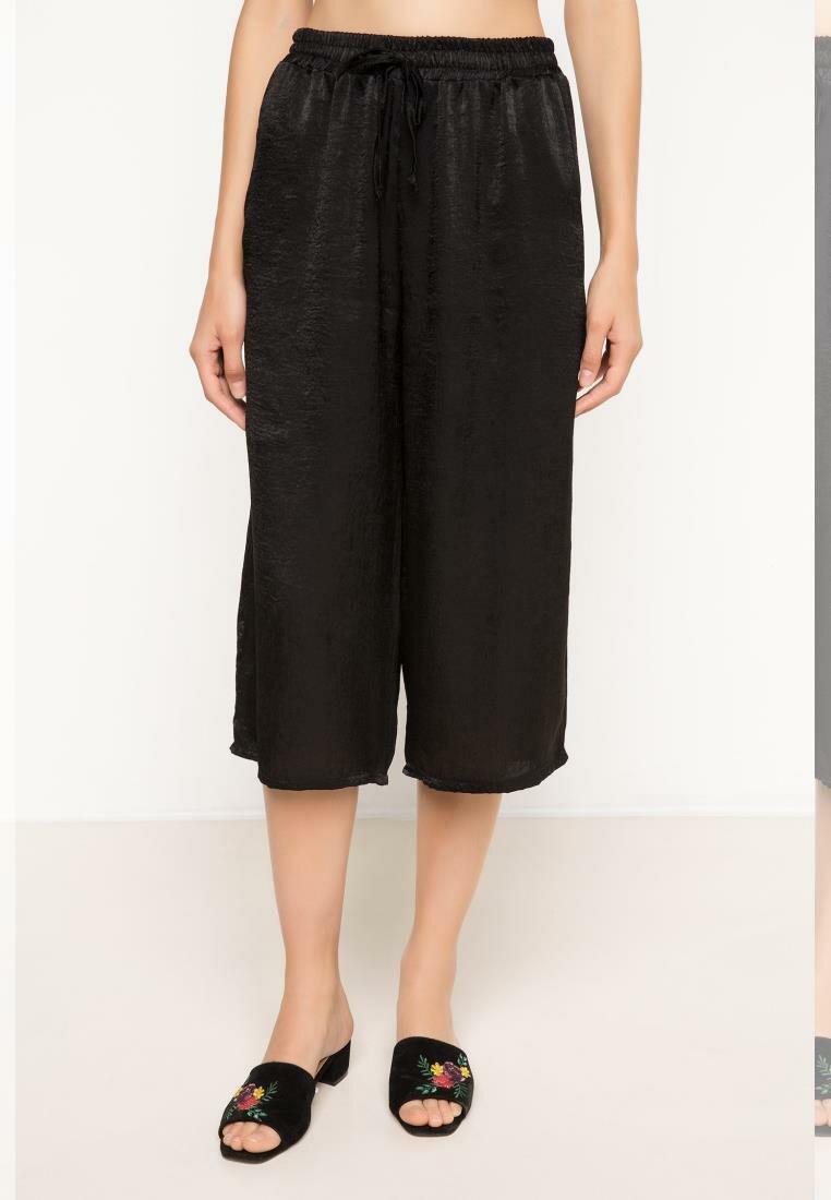 DeFacto Woman Trousers Women Wide-leg Casual Pants Loose Cropped Pants Lady High-waist Bottoms-H9217AZ17HS