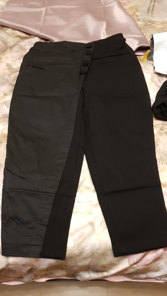 Black Tide Long Harem Pants Women Elastic Waist Button Fly Casual Modis Front Patchwork Female Trouser photo review