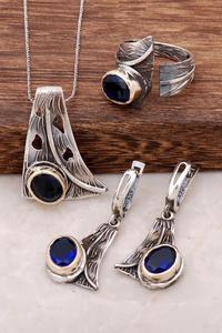 Sapphire cyrkon Design Handmade srebrny zestaw 1988 ręcznie robiony srebrna biżuteria zestaw