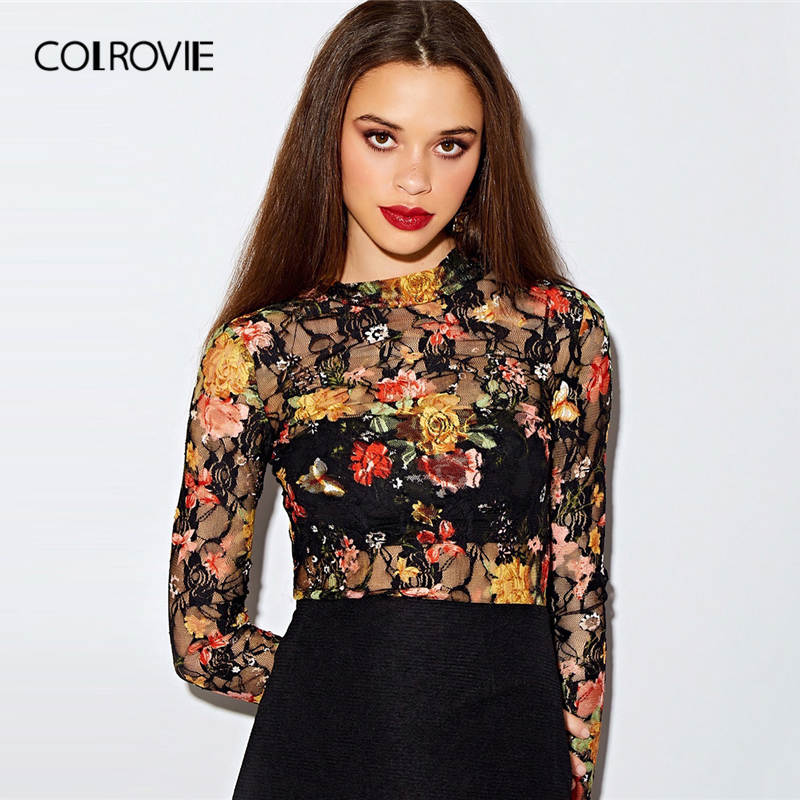 COLROVIE Keyhole Back Fitted Floral Lace Top Without Bandeau Women Long Sleeve Sheer Pullovers Tops 2019 Autumn Slim Sexy Tees