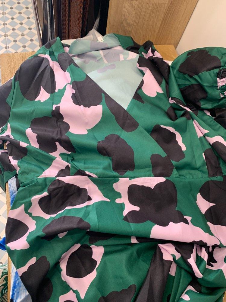 SparkDora HOT 2020 tik-tok Big V  Spring European And American Green Cake Dress Tower Dress Flower Printed V-neck Fashion Dress reviews №1 135856