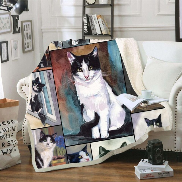 White Cute Pet Cat Print Plush Throw Blanket Sherpa Fleece Bedspread Home Blankets For Beds Camping Soft Square Blanket