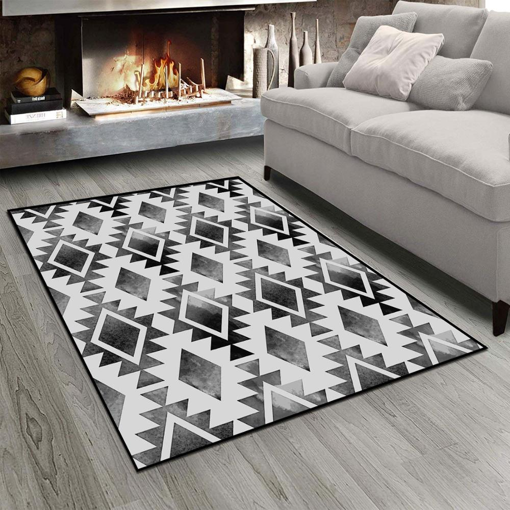 Else Black White Geometric Authentic MorrocanTiles  3d Print Non Slip Microfiber Living Room Modern Carpet Washable Area Rug Mat