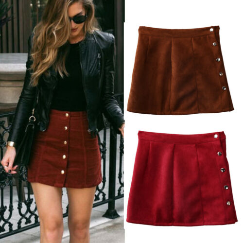 New fashion Women Ladies High Waist Pencil Skirts button lace patchwork sexy Bodycon Suede Leather split party casual Mini Skirt 12