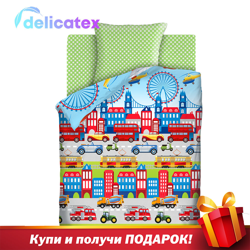Bedding Sets Delicatex 8498+8672 Vid 3 Avtopark Home Textile Bed Sheets Linen Cushion Covers Duvet Cover Рillowcase Baby Bumpers Sets For Children Cotton