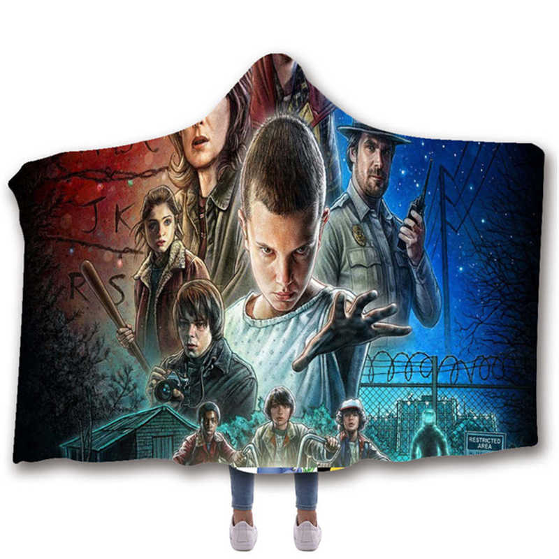 Anime Stranger Things Printed Plush Hooded Blanket For Adults Kid Blankets For Beds Wearable Double layer Fleece Throw Blankets