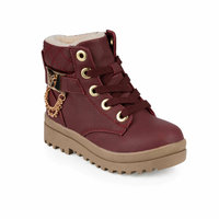 Girls Boots Shoes Spring Autumn Black Burgundy PU Children's Fashion Kids Warm Winter Rubber Waterproof Snow Rain Baby LILY 9PR