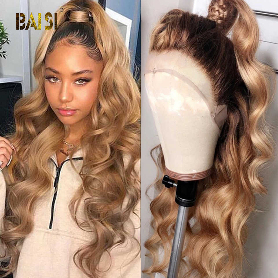 BAISI Honey Blonde Lace Front Human Hair Wigs Brazilian Virgin Wavy Human Hair With Pre-Plucked Hairline Wigs For Women