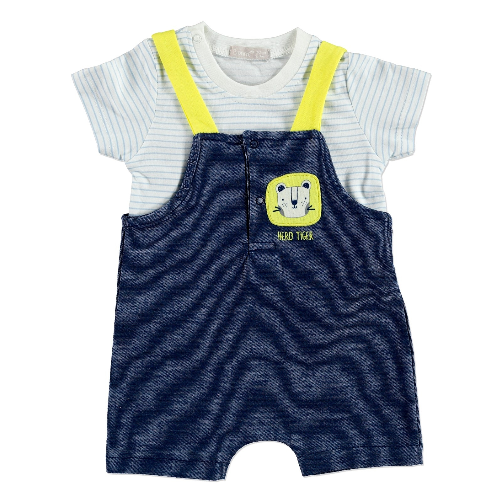 Ebebek BONNE Summer Baby Boy Safari Adventure Short Sleeve Dungarees T-shirt 2 Pcs Set